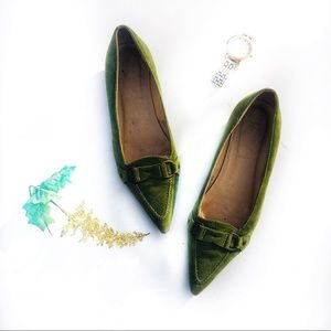 J. Crew Olive Green Suede Pointed Toe Flats 6.5
